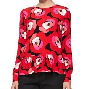 Kate Spade long sleeve deco rose peplum top